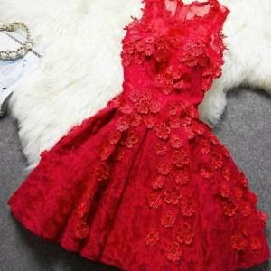 مدل لباس مجلسی دانتلی قرمز