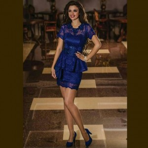 لباس مجلسی کوتاه آبی کاربنی